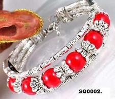 "8"" Tibetan Silver Red Beaded Bracelet Girls Women Ornate Beautiful Birthday Gift"