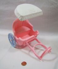 PLAYSKOOL Dollhouse PINK HORSE CARRIAGE w/ HARNESS for STABLE PONY Rare Complete