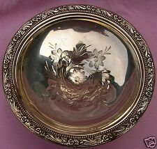 Antique Victorian WHITING ORLEAN ROSE OF SHARON Repousse Sterling Silver Compote