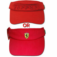 Ferrari Sun Visor Tennis Cap - Red -2 Different designs to choose from - RRP £19