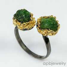 Rough fine ar Natural Apatite 925 Sterling Silver Ring Freesize/R01448