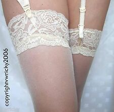 WHITE Sheer GLOSSY STOCKINGS with LACE TOP perfect for BRIDE WEDDING 15 DEN