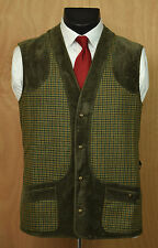Rascher Men's Tweed & Velvet Hunting Vest 102/Med Wool Houndstooth Germany