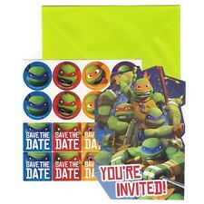 TMNT Birthday Invitations for 8 with Envelopes, Seals + Save the Date Stickers