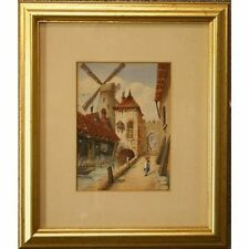 Signed Framed Original Old Antique Watercolour Painting Old Abbey Mill Chester