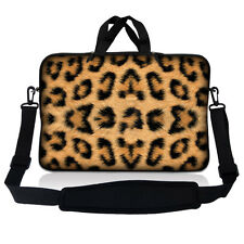 "17.3"" 17.4 Laptop Sleeve Bag Case Pouch w Handle & Shoulder Strap Leopard Print"