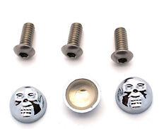 3 Chrome Skull & Stainless Steel Windshield Fairing Bolts Kit for 96-13 Harley