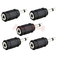 "5x 3.5mm Mono Plug to 1/8"" 3.5mm Stereo Jack Headphone Headset Adapter Converter"