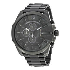 Diesel Mega Chief  Chronograph Black Dial Black Ion-plated Mens Watch DZ4355