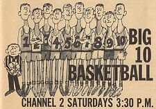 1963 WMT TV BASKETBALL AD~BIG 10 CONFERENCE~REFEREE WITH PLAYERS~CEDAR RAPIDS,IA