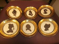 "SET OF 6 round CAMEO with brass frame, made in England, 5"" diameter"