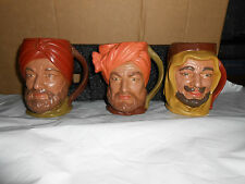 LOT/SET 3 VTG CERAMIC TOBY STYLE ARAB/ARABIAN MAN/HEAD MUGS/STEINS/TANKARDS