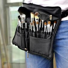 Pro PU Leather Makeup Bag 28 Pocket Cosmetic Brushes Case Belt Strap Holder Tool