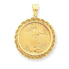 14k Yellow Gold 1/2 oz American Eagle Coin Bezel Mounting Pendant For Necklace