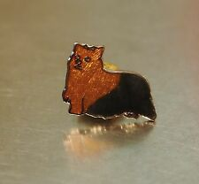 Cloisonne enamel SMALL Yorkshire terrier dog Pin  vintage Old New Stock  Jewelry