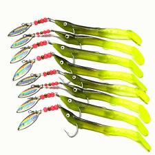 Lot 8Pcs Metal Spoon Fishing Lures Worm Bass Trout Crank Spinner Soft Long Bait