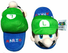 "Nintendo Super Mario Brothers Bros Luigi 9"" Kids Children Plush Slipper 1 Pair"