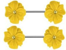 Nipple Shield Rings barbell barbells sold as a pair 14 gauge Blooming Flower CZ