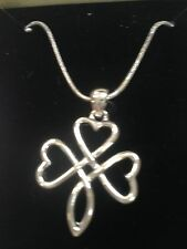 St. Patrick's Day Celtic HEART CROSS NECKLACE Silver New in Gift Box! IRISH