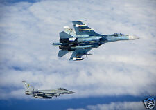 Russian Air Force Fighter SU 27 Flanker & RAF Typhoon 12x8 Inch Photo Reprint