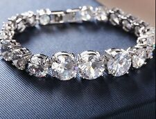 "X'mas GIFT 14K White Gold Over D/VSS1 Diamonds Large Round 6.5"" Tennis Bracelet"