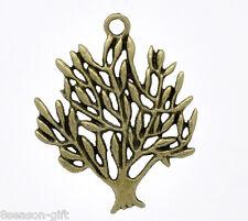 20 Gift Bronze Plated Tree Charm Pendants 31x25mm