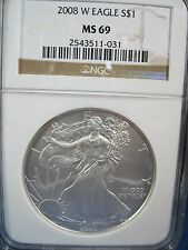 2008 W BURNISHED  SILVER EAGLE NGC MINT STATE 69