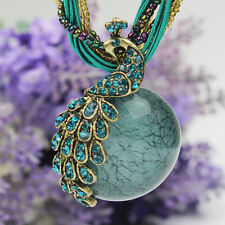 Latest Elegant Millet Chain Crystal Peacock Gem Pendant Necklace Jewelry Blue