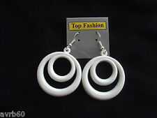 dangle drop earrings white circle in circle design 5.5 cm  plastic new hook back