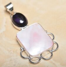 """Mother of Pearl Abalone Sea Shell 925 Sterling Silver Pendant 2.5"""" #P14228"""