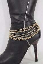 Women Gold Metal Chains Boot Bracelet Western Shoe Charm Bling Jewelry Classic