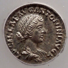 LUCILLA LUCIUS Verus Wife ICG Certified MS60 Mint State Silver Roman Coin i44984