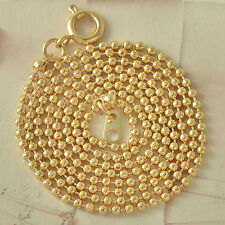 Classic 9K Real Gold Filled Mens/Womens Beaded Chain Necklace 52cm*2mm F4580