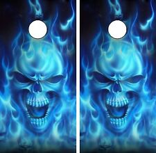 C15 Flaming Skull Cornhole Board Wrap LAMINATED Wraps Decals Vinyl Sticker