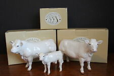 A Set of 3 Boxed Border Fine Arts Charolais Cattle Bull Cow Calf