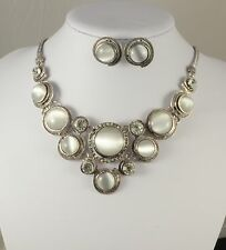 SILVER GREY BOMIAN CIRCLE CAT'S EYE & DIAMANTE RHINESTONE NECKLACE EARRINGS SET