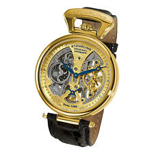 Stuhrling 127A2 333519 Emperor Grand Dual Time Automatic Leather Men's Watch