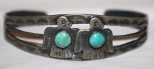 Early Native American Old Pawn Silver with Turquiose Thunderbirds Cuff Bracelet