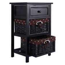 Black Night Stand 3 Tiers 1 Drawer Bedside End Table Organizer Wood W/2 Baskets