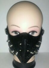 motorcycle Half face mask punk Silver-Metal Spikes black Mask For Men One Size