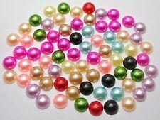 200 Mixed Color Half Pearl Bead 10mm Flat Back Gem Scrapbook Craft