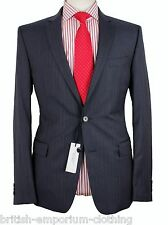 VERSACE COLLECTION Mid Blue Tonal Stripe 100% Wool Suit Uk40 BNWT