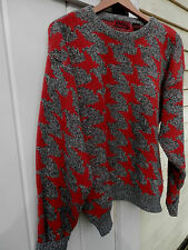 BOY FRIEND VINTAGE 1980'S WOOL BLEND GRAY TWEED RED DESIGN PULLOVER SWEATER..LG