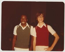 Vintage 80s PHOTO Young Black & White Teen Guys Both Wearing Vests