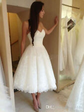 2015 Sexy White/Ivory Tea Length Lace Wedding Dress Bridal Gown Custom Size 6-18
