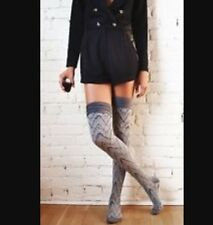 NWT Free People Gray Over The Knee High Socks One Size 9-11