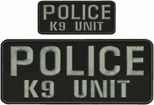 POLICE K9 UNIT EMBROIDERY PATCHS 4X10 & 2X5 hook on back  GRAY LETTERS