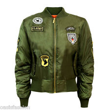 MA1 Combate US Insignia Air Force Militar Vintage Mujer Chaqueta Bomber