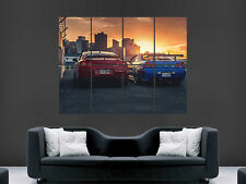 NISSAN GTR R34 R35 POSTER SKYLINE SUNSET  FAST CARS SPEED RETRO WALL PRINT HUGE
