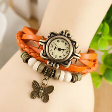 New Women Vintage Fashion Butterfly Bracelet Faux Leather Quartz Wrist Watch